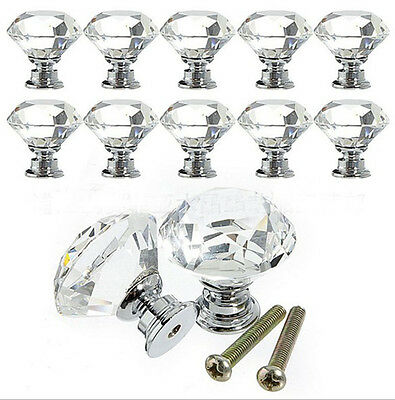 10pcs 30MM Glass Crystal Cabinet Cupboard Closet Drawer Door Pulls Knobs Handle