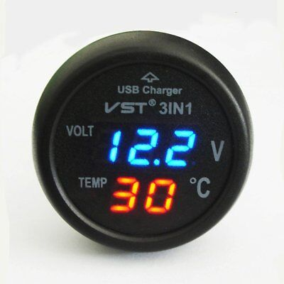Cigarette Lighter Style Digital Thermometer Display Voltmeter with USB Charger