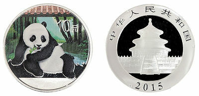 China 10 Yuan, 1 oz. Silver Proof Coin (BU), 2015, Mint, Panda Color (Colored)