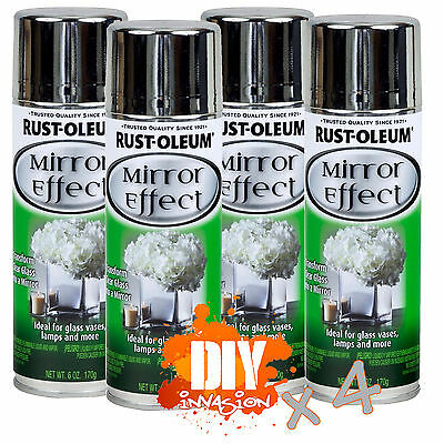 Rust-Oleum x 4 Mirror Effect Finish Spray Paint Glass Vases Wedding Arts Craft