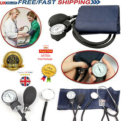 New Nylon Cuff Blood Pressure Monitor Manual Sphygmomanometer Kit & Stethoscope