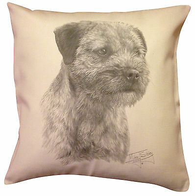 Border Terrier MS Cotton Cushion Cover - Cream or White Cover - Gift Item
