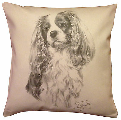 Cavalier King Charles Spaniel MS Cotton Cushion Cover - Cream or White - Gift