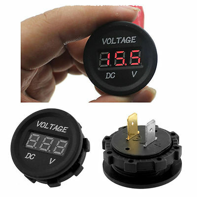 1x Waterproof Voltmeter Red LED Digital Display 12V-24V Car Motorcycle Meter fu