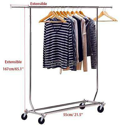 """65"""" Heavy Duty Commercial Clothing Garment Rolling Rack Clothes Movable Shelf"""