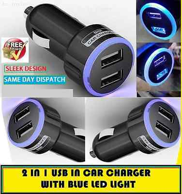 New Mini USB Dual Port 12V Universal In Car Charger Adapter -Black with LED Ring
