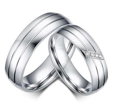 Men Women Stainless Steel Ring Couples Wedding Engagement CZ Band 6mm Size J-Z+1