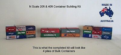 N Scale Containers 20 ft & 40 ft Bulk Pack Model Railway Building Kit, N2040