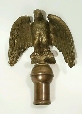 Vtg High Relief Antique Brass Eagle Finial Flagpole Topper Flag Decor Patriotic