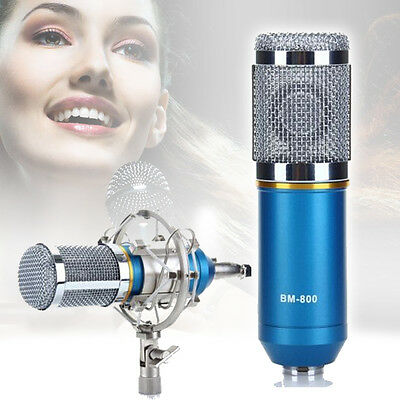 Pro Condenser Microphone Mic Sound Studio Recording Dynamic Shock Mount Blue CC