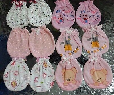 New 100% Cotton   Mittens Gloves For New Born Baby Animal Print 6 Pairs Kids