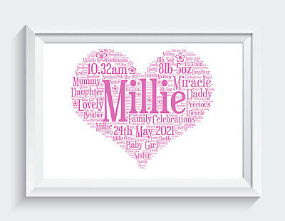 Personalised New Baby Christening Word Art Print Gift Keepsake