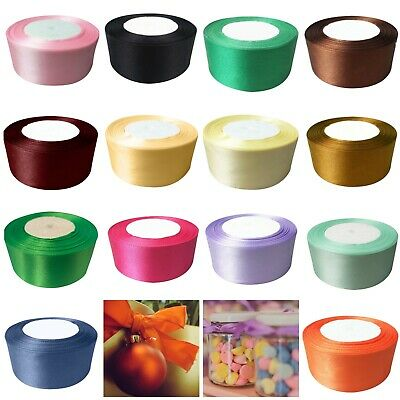 40mm x 22 Metres Full Roll Quality Double Sided Faced Satin Ribbon 24 Colours UK