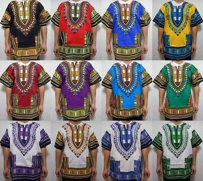 Dashiki Mens Womens Shirt African Top Hippie Vintage Boho Tribal Blouse One Size