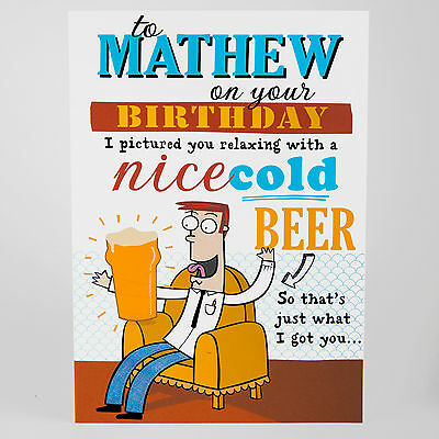 MALE BIRTHDAY GREETINGS CARD - Personalised funny joke BEER ANY NAME, RELATION