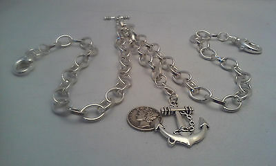 Hand-Made Silver Plated Pocket Watch Chain: Double Albert 10Mm Oval Rolo Link