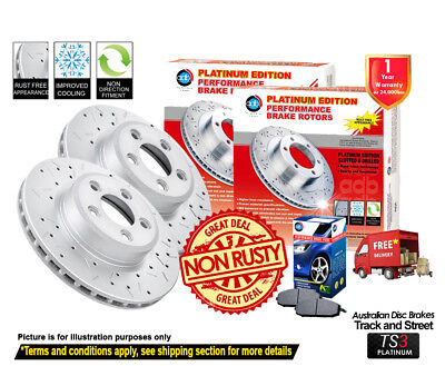 NISSAN Patrol GQ Series SLOTTED & DRILLED FRONT Disc Rotors (2) & Brake Pads (1)