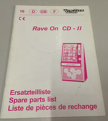 Jukebox Manual - Wurlitzer Rave On Cd-Ii - Spare Parts List