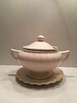 Vintage California Pottery Ivory Soup Tureen w/ Lid & Plate RARE Antique