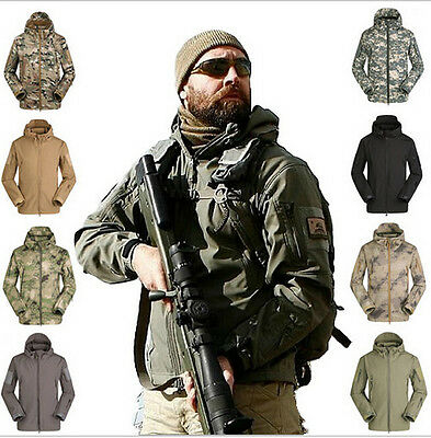 Tactical Army Style Soft Shell Outdoor Military Jacket Waterproof Windproof Spor