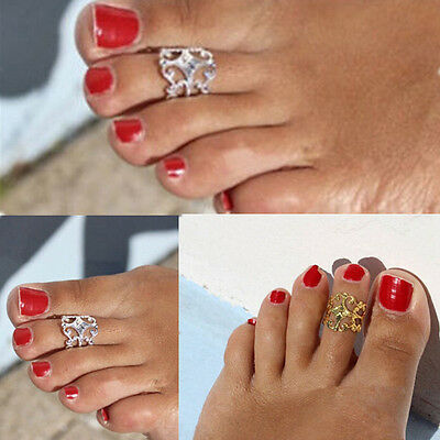 Women Lady Fashion Gold Silver Metal Toe Ring Foot Beach Jewelry Adjustable BUUA