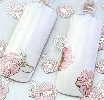 Nail Art Stickers Decals Transfers Vintage Flowers Roses  Metallic Silver Y833
