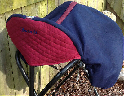 Custom English Double Fleece Saddle Cover Navy Burgundy Embroidered Back