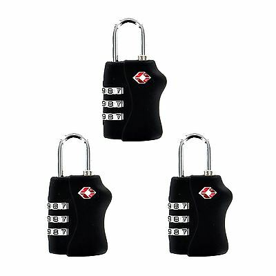 New TSA Luggage Lock 3 Dial cod Combination resettable approved Padlock steel