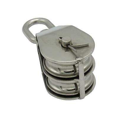 50MM Stainless Steel Double Block With Swivel Eye - Marine Pulley