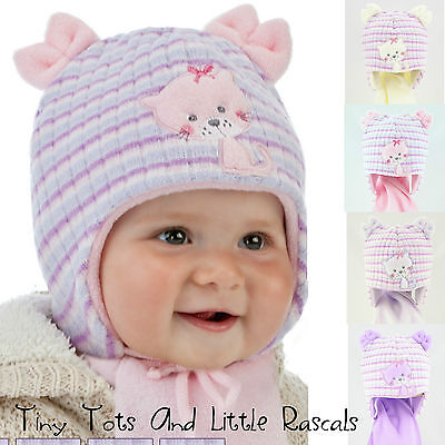Infant Baby Girls Winter Acrylic Hat Scarf Set Party Christening Size 6-18 mnths