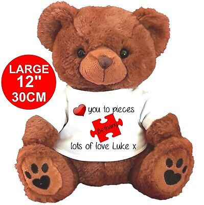 """Personalised Brown Teddy Bear 25Cm/10"""" Sitting Valentines Day Love You To Pieces"""