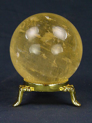 """BUTW Golden calcite healing gazing sphere 2.75"""" with stand lapidary orb 4946K"""