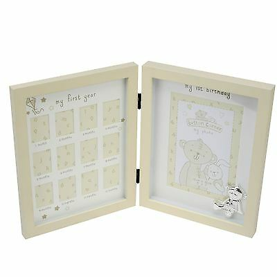 Button Corner My First Year Double Wooden Photo Frame - New Baby Gift