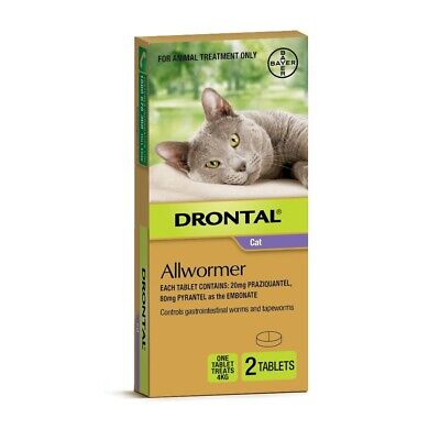 Drontal All-Wormer for Cats & Kittens Up to 4kg - 2 Tablets - New Shape