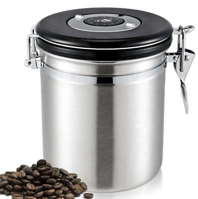 Diguo Stainless Steel Storage Jar Coffee Storage Container with Valve Silver