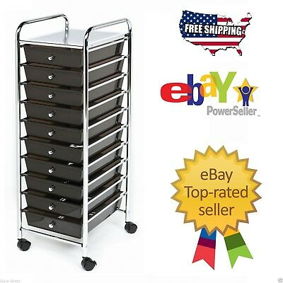Black Seville 10 Drawer Rolling Storage Cart Tool Box School