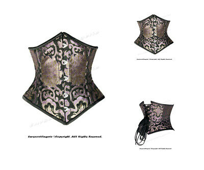 Heavy Duty 18 Double Steel Boned Waist Train Brocade Underbust Corset #8589-BRO
