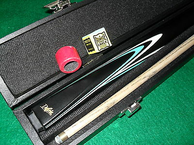 Dufferin Ash Timber Blue Flame 8 Ball Cue with Cue Case NEW  9 mm leather tip