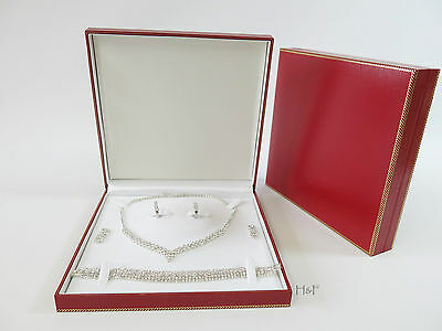 Luxury Rich Red Jewellery Set Gift Box Case - Necklace Bracelet Earrings 19.5cm
