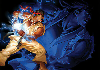 Sticker Autocollant Poster A4 Jeux Video Street Fighter 4. Hadoken Ryu Dono 3.