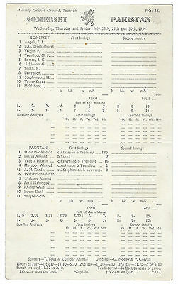 1954 - Somerset v Pakistan, Touring Match Scorecard