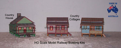 HO Scale 3 Country Houses On Timber Stumps, Model Railway Building Kit - 3CHS1