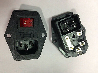 1Pcs New Black Red AC 250V 10A 3 Terminal  Power Socket with Fuse Holder