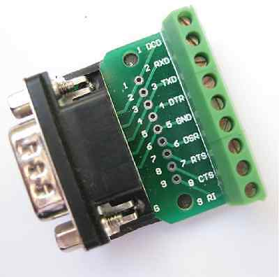 DB9 D SUB Male Adapter Plate 9 Pin Terminal Breakout Board UART RS232 KF396232