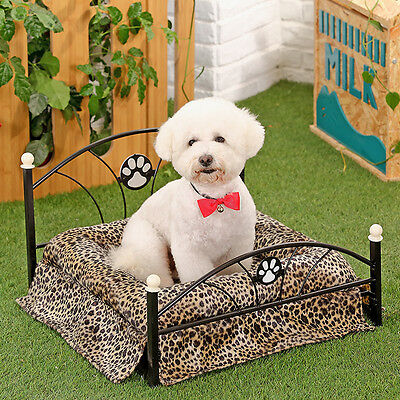 Pet Dog Bed Leopard Metal Frame Puppy Dog Cat Soft Crate Cushion Kennel House