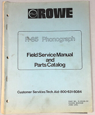 Jukebox Manual Rowe R-85 Field Service Manual & Parts Catalog