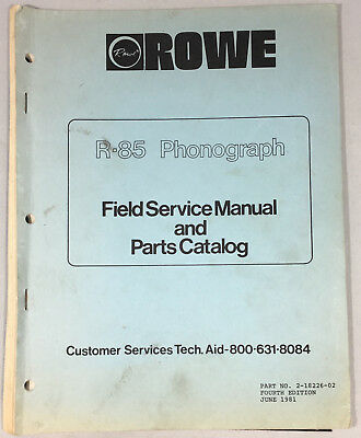 Jukebox Manual - Rowe R-85 Service Manual & Parts Catalog - Not For Pinball