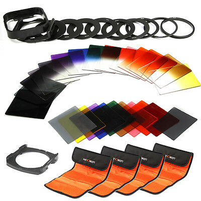 24 Pieces Square Full & Graduated Lens Filter Kit + Holder For Cokin P Series ND