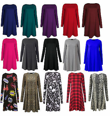 Womens Swing Dress Skater Ladies Plus Size Flared Top Xmas Long Sleeved Tartan