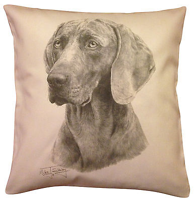 Weimaraner MS Cotton Cushion Cover - Choice of Cream or White - Perfect Gift